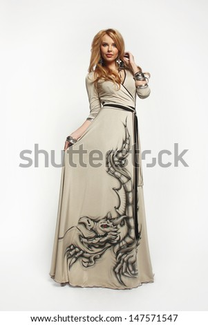 Beautiful woman in long dress.