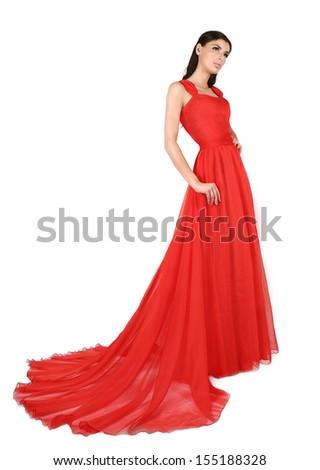 Beautiful woman in long, red dress. - stock photo
