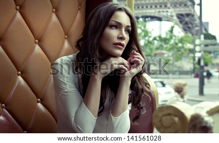 Beautiful woman in Paris - stock photo