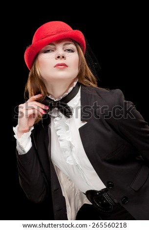 Beautiful woman in red hat. - stock photo