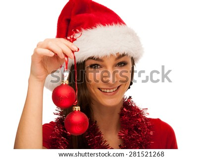 Beautiful woman in santa claus hat and red shirt isolated over white background