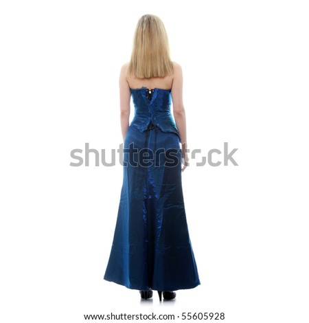 Beautiful woman in sexy evening dress against white background
