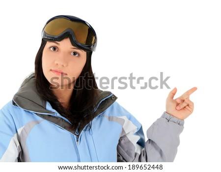 Beautiful woman in sport wear pointing a great idea - stock photo