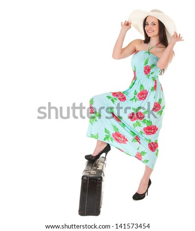 beautiful woman in summer dress with hat and case over white background - stock photo