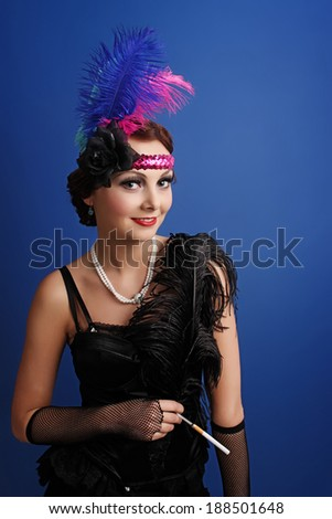 Beautiful woman in twenties style