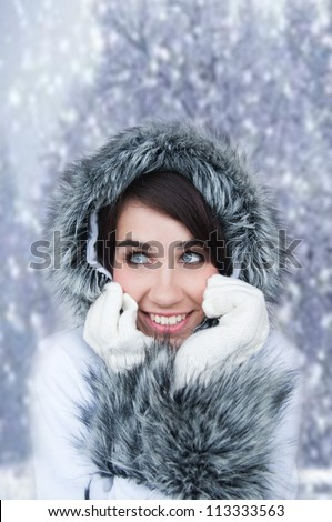 Beautiful Woman In Warm Clothing. Cold winter.