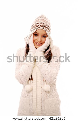 Beautiful woman in warm winter clothes on white background - stock photo