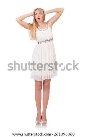 Beautiful woman in white dress isolated on white - stock photo