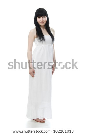 Beautiful woman in white dress on white background