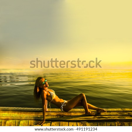 Beautiful woman in white sexy bikini on the wooden pier beside a water. sunset light. cute girl against blue sky with clouds
