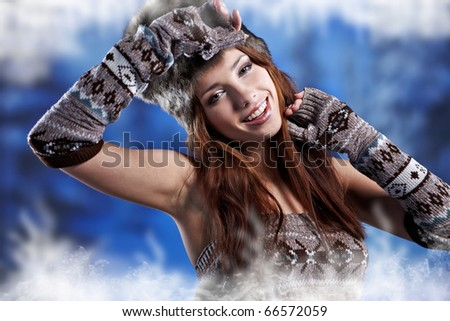Beautiful woman in winter  coat. - stock photo