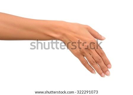 Beautiful woman is reaching out so it can shake hands. Isolated on white background