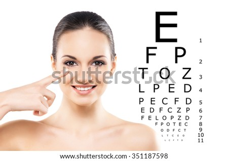 Beautiful woman is ready to check her eyes on isolated background. - stock photo