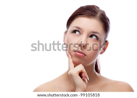 Beautiful woman. Isolated over white. - stock photo