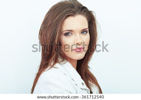 Beautiful woman isolated white background portrait. - stock photo