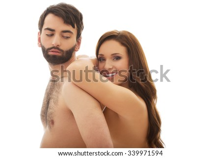 Beautiful woman leaning on man's back.