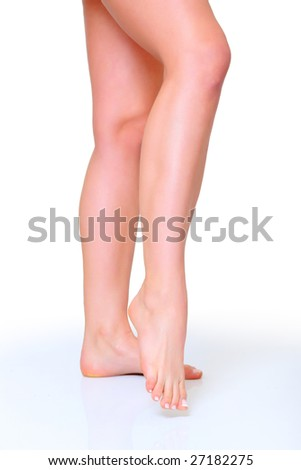Beautiful woman legs, isolated on a white background, please see some of my other parts of a body images: