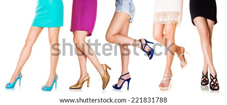 Beautiful woman legs wearing shoes.high heels. Fashion style. Shopping.  - stock photo