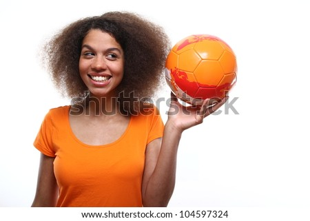 beautiful woman likes the dutch soccer team - stock photo