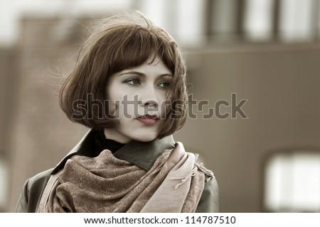 Beautiful woman looking away - stock photo