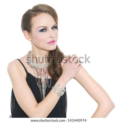 Beautiful woman make-up. Jewelry and Beauty. - stock photo
