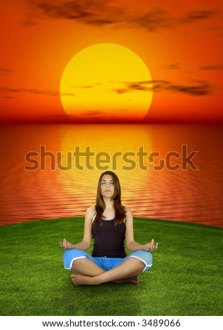 Beautiful woman making yoga at the sunset  (background digitally created) - stock photo