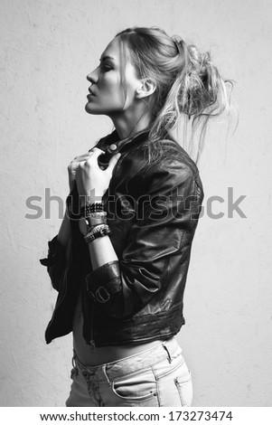 beautiful woman model posing  in the studio - stock photo