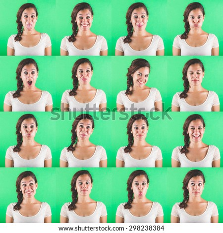Beautiful woman multiple portraits on green background. Each image is showing a different emotion like happiness, sadness, fear and some more.