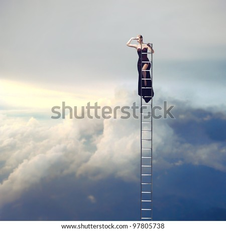Beautiful woman on a ladder above the clouds looking far away - stock photo