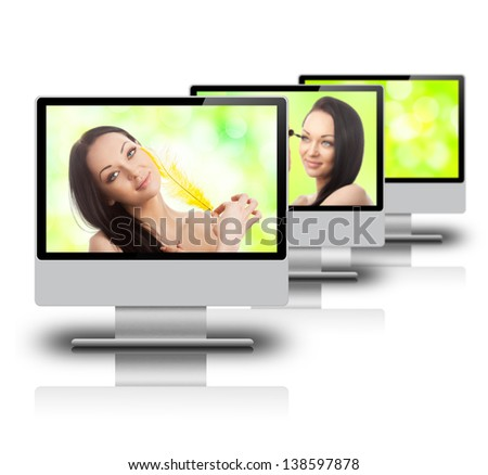 Beautiful woman on a monitor screen