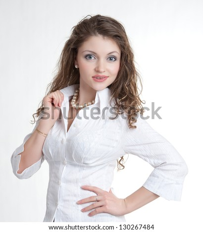 Beautiful woman on a white background.