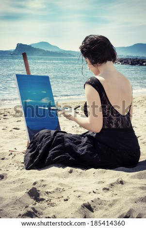 beautiful woman on the beach painting on canvas sea landscape filtered image effect