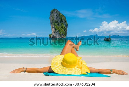 Beautiful woman on the beach. Poda island. Thailand - stock photo