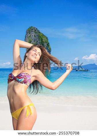 Beautiful woman on the beach. Thailand. - stock photo