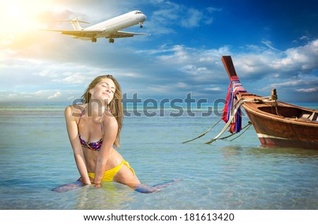 Beautiful woman on the beach. Thailand. Travel concept - stock photo
