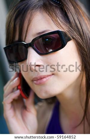 beautiful woman on the phone calling - stock photo