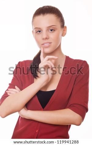 beautiful woman on white background, studio shoot - stock photo
