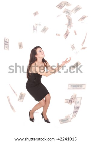Beautiful woman on white background with hundred  dollars bills falling around her