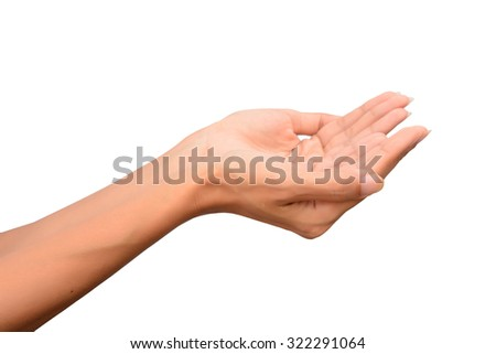 Beautiful Woman open hands Isolated on white background