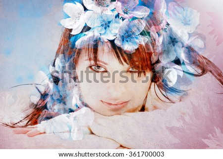 Beautiful woman over flowers - textured old paper background