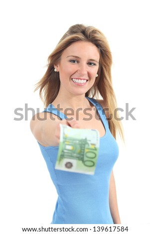 Beautiful woman paying with a one hundred euros banknote isolated on a white background