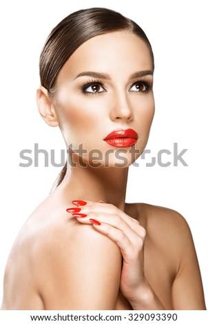 Beautiful woman portrait, beauty on white background  - stock photo