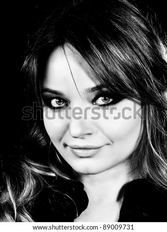 beautiful  woman portrait, black and white - stock photo