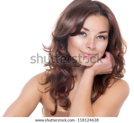 Beautiful Woman Portrait.Clear Fresh Skin.Isolated on a White Background. Skincare.Spa - stock photo