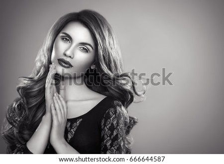Beautiful woman portrait close up black and white
