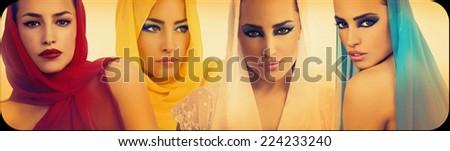 beautiful woman portrait collage, women faces, fashion photography - stock photo