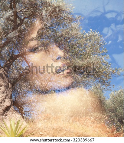 beautiful woman portrait  double exposure with olive tree