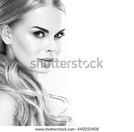 Beautiful woman portrait face studio on white black and white