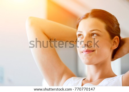 Beautiful woman portrait indoors
