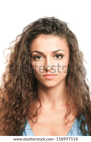 Beautiful woman portrait isolated on white background